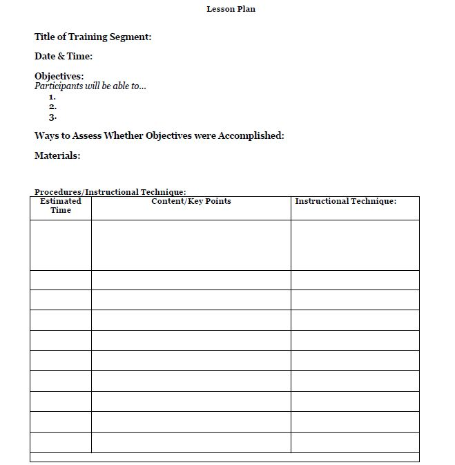 Free lesson plan template train like a champion for Facilitation plan template