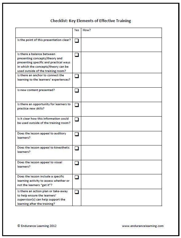 Training Checklist Design Effectiveness Train Like A